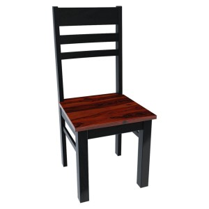 Modern Two Tone Solid Wood School Back Dining Chair Black