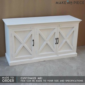 Contemporary X-Design Solid wood Sideboard White 1.5m