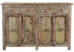 Indian Old Door Sideboard with natural tone and Whitewash