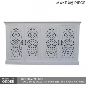 Floral Jali Design Hand Carved Sideboard White 160cm