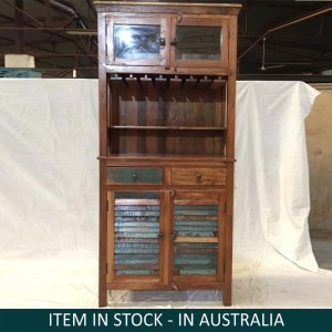 Solid Wood Indian Hand carved Bookshelf storage Rustic BROWN 98x46x216 cm
