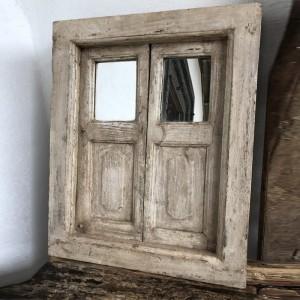 Indian Antique Wooden Hatch Panel With Mirror Whitewash 53cm