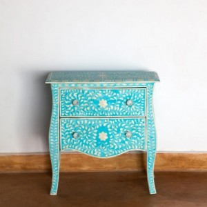 Maaya Bone Inlay Bedside cabinet Lamp table Blue Floral