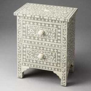 Maaya Bone Inlay Bedside Cabinet Table Black Floral