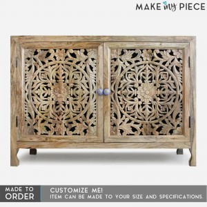 Jali Carved 2 Door Sideboard Natural - 5 shelves