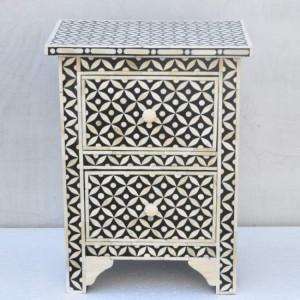 Maaya Bone Inlay Bedside Cabinet Table Black Geometric