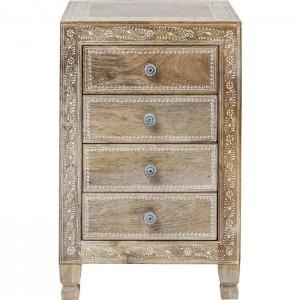 Vivid Village Art Contemporary Solid Wood Hand Painted Chest of Drawers Natural