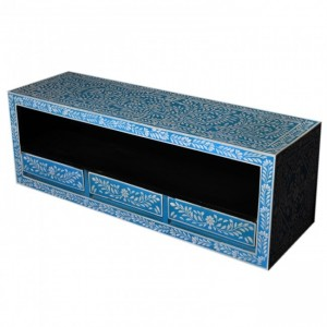 Pandora Bone inlay Blue Floral 3 Drawer TV Unit
