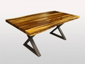 Live Edge Industrial Indian Solid Wood Metal Base Dinning Table X