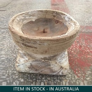 Antique Indian Wooden Seed Candle Holder Whitewash