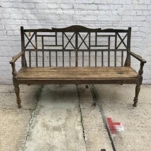 Vintage Indian Teak Wood Seating Garden Bench Natural