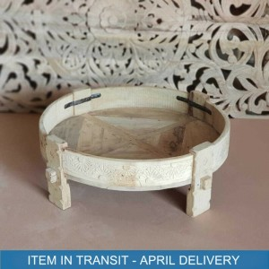 Indian Tribal Hand Carved Solid Wood Chakki Coffee Table Flower Bleached 75 cm