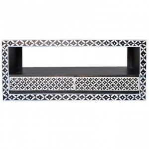 Pandora Bone Inlay Painted Black TV Unit