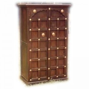 Mogra Brass Work Solid Wood Antique Style Almirah Pantry Cupboard Cabinet