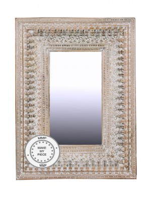 Indian Hand Carved Bleached Mirror 90x120 cm