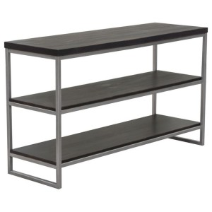 Dark Brown 3-Tier Console Shelf Silver Metal Frame
