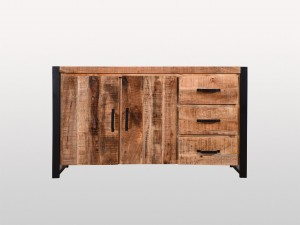 Miller Industrial Indian Solid Wood Double Door Buffet Sideboard With Drawers