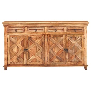 X - Design Long Rustic Sideboard with 4 Doors and Drawers and Plenty of Storage