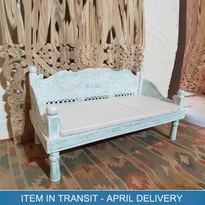 Hand Carved Indian Solid Wood Sofa Daybed Blue 155x75x80 cm