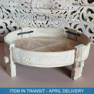 Indian Tribal Hand Carved Solid Wood Chakki Coffee Table Star Bleached 75 cm