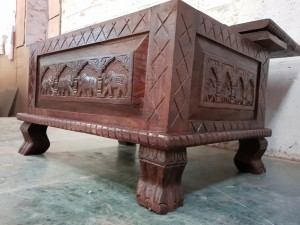 Elephant Carved wood Trunk Coffee Table With Blanket Box Brown