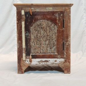 Antique Indian old wood single Door Bedside tables Pair 47X50X58cm