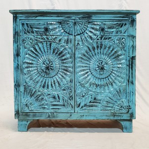 Indian Hand carved floral small buffet sideboard vanity 96x41x92cm