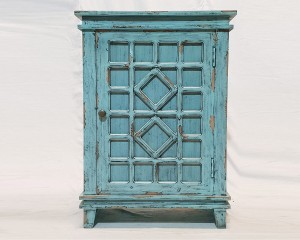 French Arched Hand carved Door Cabinet Sideboard Blue Turquoise rustic 66 x 40 x 90cm