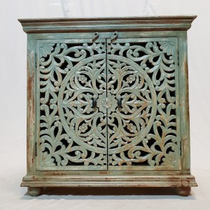Dynasty French Hand carved Doors Buffet Sideboard Blue wash rustic