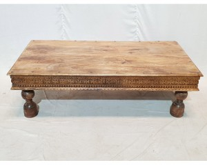 Solid antique carved panel X Large rectangular coffee table Natural 150x76x48cm