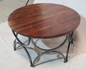 Solid wood Round coffee table with Industrial metal legs 90x90x46cm