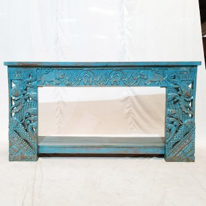 Floral French style Hand Carved Jali Hall Table Console Desk BLUE 150cm