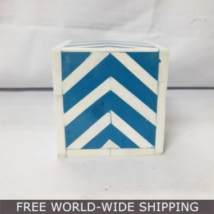 Real Bone Inlay Designer Square Paper Weight BLUE
