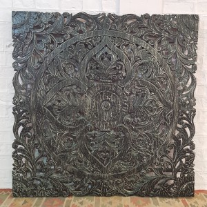Floral Beautiful Hand Carved Indian Solid Wood Bed Panel Black Wash  200x200cm