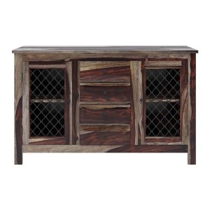 Takat Metal Jali Indian Solid Wood Buffet Sideboard With 4 Drawers