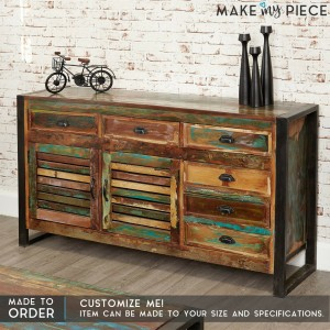 ASPEN Industrial Metal Reclaimed wood Sideboard 150cm