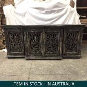 Floral Hand Carved Indian Solid Wood Long Sideboard Black