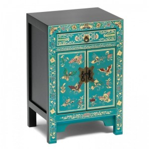 Golden Dragon Oriental Painted Solid Wood Blue Bedside Cabinet 40x35x60cm