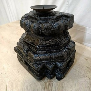 Hand Carved Indian Vintage Pillar Base Wooden Candle Stand Holder Black Finish