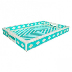 Maaya Bone Inlay Serving Tray - Geometric Design  49x39x5cm