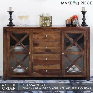 Contemporary X Design Solid wood Sideboard Brown