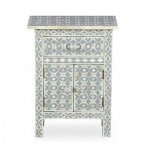 Maaya Bone Inlay Bedside Cabinet Table Grey Geometric