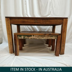 Nirvana Dining Bench Setting, Reclaimed wood bench set, Small bench set Australia, Bench Setting Australia, Small Dining Bench Set, Reclaimed wood bench setting