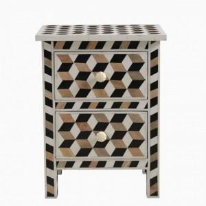 Maaya Bone Inlay Bedside Cabinet Table Geometric