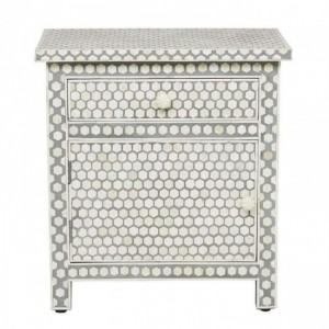 Maaya Bone Inlay Bedside Cabinet Table Grey Geometric