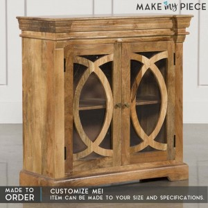 French Arch Style Solid wood 2 Door Sideboard Natural 90CM