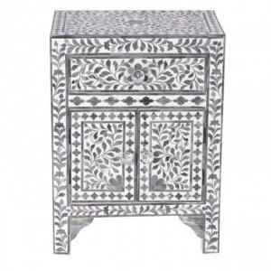 Maaya Bone Inlay Bedside Cabinet Table Grey Floral