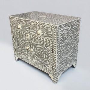 Maaya Bone Inlay Chest of Drawer sideboard Grey and White