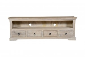 MADE TO ORDER Indian Mango Classic Wooden TV Unit With 4 Drawers White  180 x 45 x 60 Cm