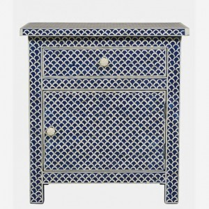 Maaya Bone Inlay White Bedside Cabinet Table Blue Floral